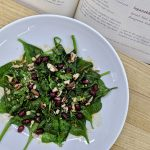 Meal 59 - Ispanakhi Salati - Spinach Salad with Walnuts and Pomegranate Seeds