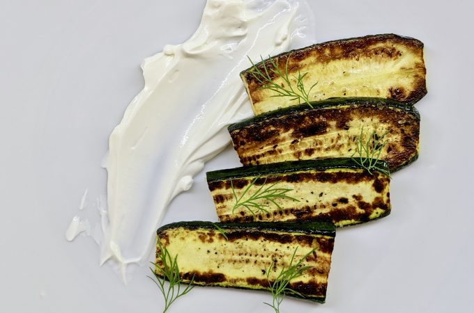 Fried Zucchini Slices with Yogurt