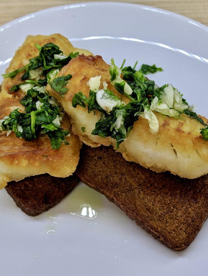 Meal 66 - Mai Birion Ovi Sir - Bukharan Fried Fish with Garlic and Coriander Sauce