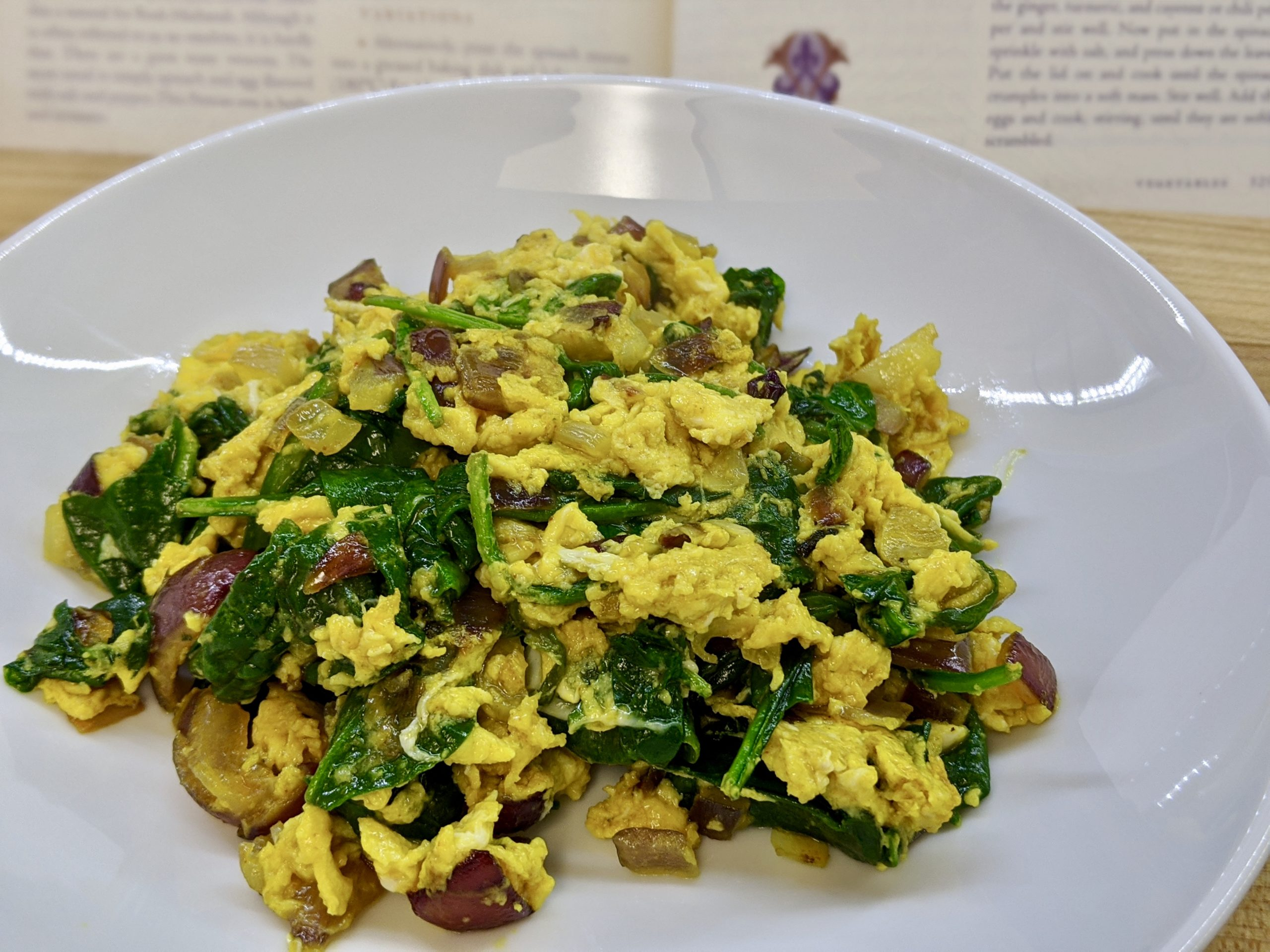 Meal 81 - Mufarka - Spiced Spinach with Scrambled Eggs