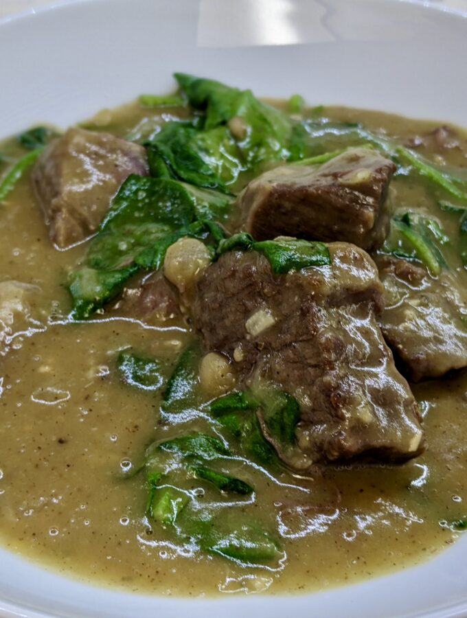 Made In Marrow - Meal 94 - Ragout aux Épinards - Tunisian Meat Stew with Yellow Split Peas and Spinach